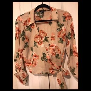Forever 21 cross front floral top